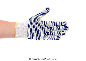 Hand in protective glove. Isolated on a white background