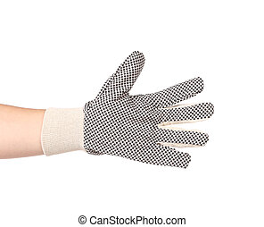Hand in protective glove. Isolated on a white background.