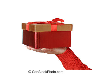 Hand in red sweater with gift box