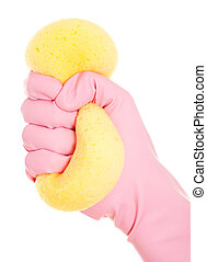 Hand in rubber glove with sponge isolated on white background.