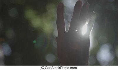 Hand in silhouette raised up to the sun blackmagic ursa mini...