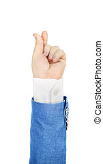 Hand in suit on a white background