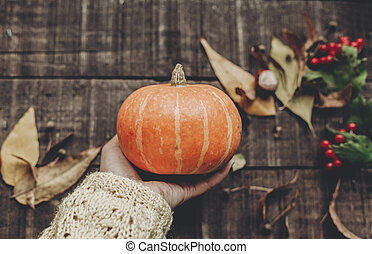 hand in sweater holding pumpkin with leaves and berries on rustic wooden background, top view. space for text. thanksgiving or halloween concept greeting card. cozy autumn mood