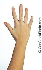 Hand in the air with five fingers