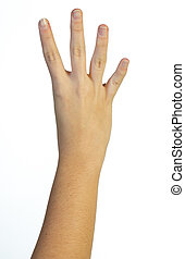 Hand in the air with four fingers