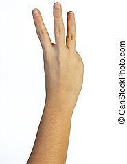 Hand in the air with three fingers