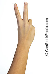 Hand in the air with two fingers