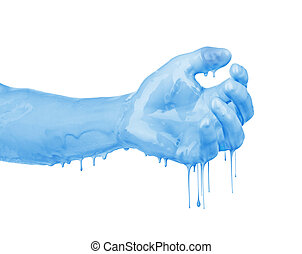 hand in the paint isolated on white