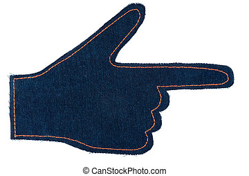 Hand in the shape a pointer made of denim jeans isolated on white background