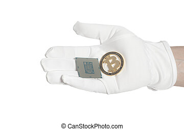 Hand in white glove holding a CPU computer processor microchip end bitcoin
