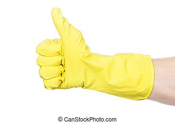 hand in yellow rubber with sponge