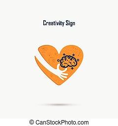 hand, industriebedrijven, poster, hart, hersenen, creativiteit, idee, vector, ontwerp, menselijk, logo, bol, opleiding, concept.