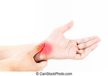 Hand injury on white background
