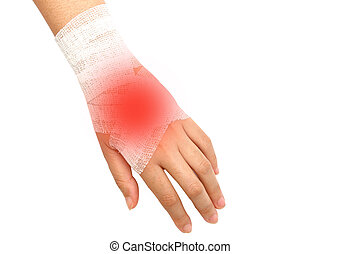 hand injury ,wrist strain ,sprained in white bandage on...