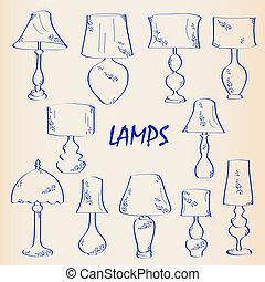 hand, inre, ikon, sätta, oavgjord, lampan