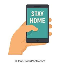 hand, inschrift, aufenthalt, smartphone, daheim, hält