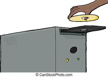 Hand Inserting CD-ROM - Human hand inserting CD into...