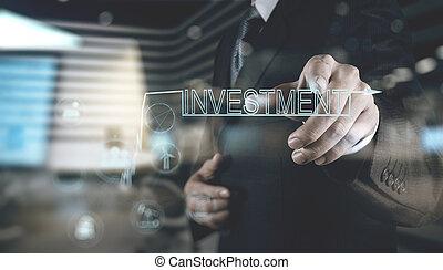 hand, investition, geschäftsmann, zeigen