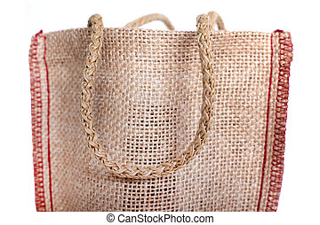 Hand is a part of the eco Shopping bag made out of recycled Hessian sack