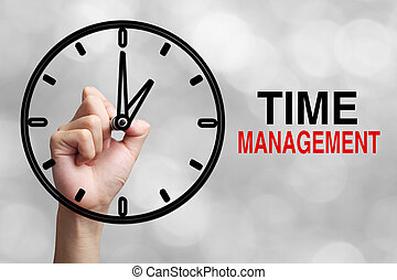 Time Management Concept - Hand is drawing a clock with text ...