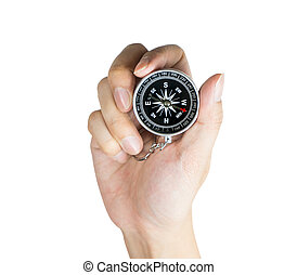 Hand is holding compass for direction isolated on white