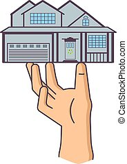 hand is holding house