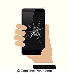 hand is holding smartphone with broken display