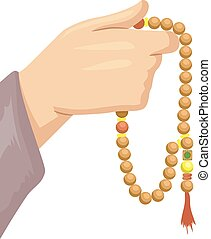 Cropped Illustration Featuring a Muslim Devotee Hand Holding Islamic Prayer Beads