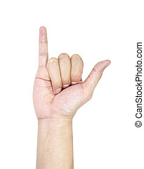 Hand isolated in white background