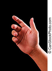 hand isolated on black background with clipping path