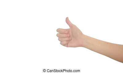 Hand isolated on white background. hand gestures - Hand...