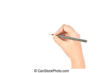 hand, isolerat, white., skrift