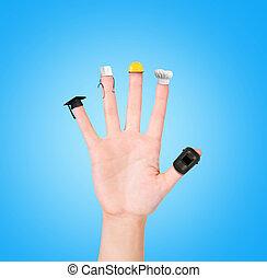 hand, jedes, finger, verschieden, berufe, wahlmöglichkeit, optionen