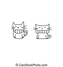hand, karakter, spotprent, geluk, tekening