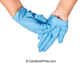 hand, kasta bort, blå, disponibelt, gloves.