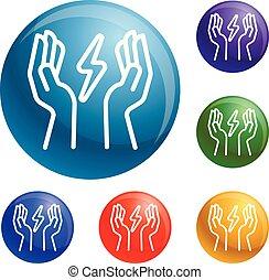 Hand keep energy icons set vector