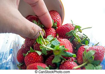 juicy fresh ripe red strawberries