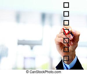 hand, kies, een, van, drie, opties