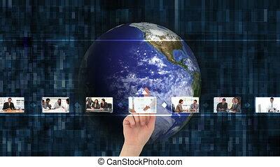 hand, kies, zakelijk, video's