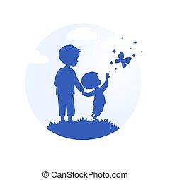 hand, kinderen, vector, silhouette, twee, hand
