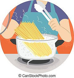 Hand Kitchen Verb Boil Illustration