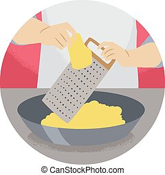 Hand Kitchen Verb Grate Illustration
