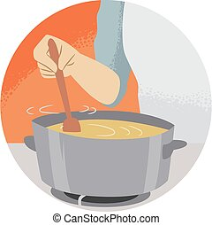Hand Kitchen Verb Stir Illustration