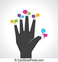 hand, kleurrijke, bellen, boodschap