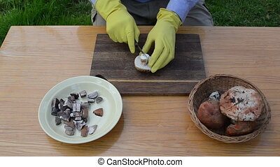 hand knife cut mushroom