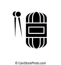 Hand-knit black icon concept. Hand-knit flat vector symbol, sign, illustration.
