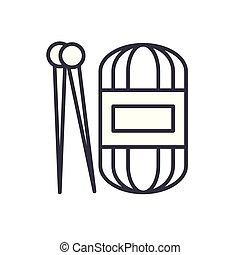 Hand knit black icon concept. Hand knit flat  vector symbol, sign, illustration.