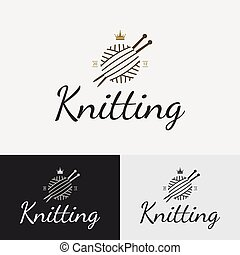 Hand knit logo, badge or label.