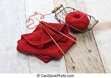 hand knitted red scarf