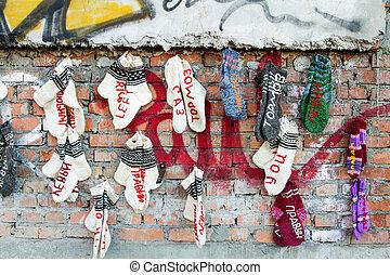 Hand knitted socks .